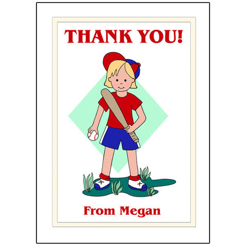 Baseball Girl Thank You Note Cards