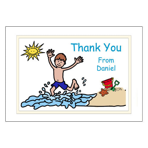 Beach Party Thank You Note Cards - Boy