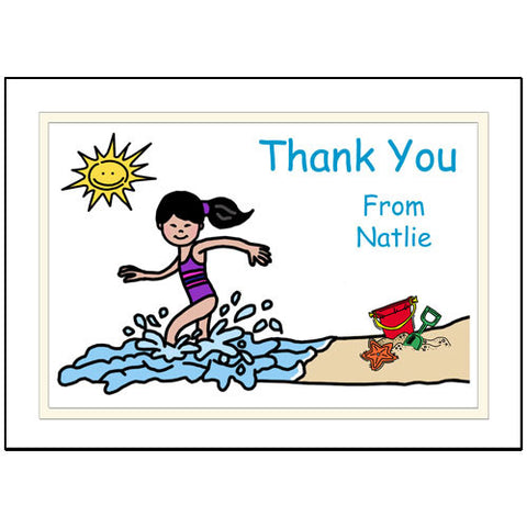 Beach Party Thank You Note Cards - Girl