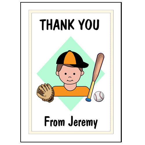 Baseball Kid Thank You Note Cards - Boy