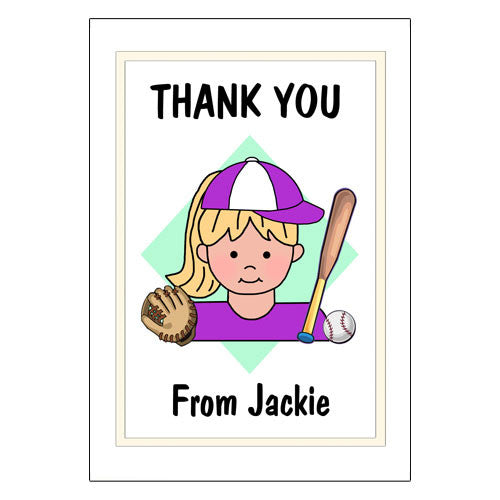 Baseball Kid Thank You Note Cards - Girl