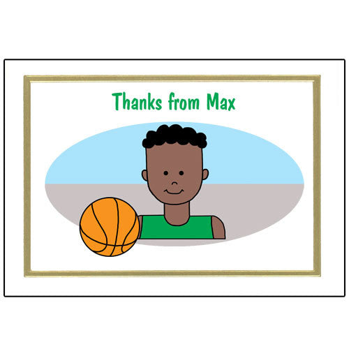 Basketball Kid Thank You Note Cards - Boy