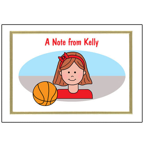 Basketball Kid Thank You Note Cards - Girl