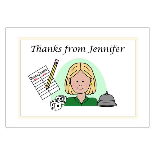 Bunco Party Thank You Note Cards