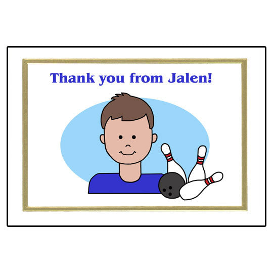 Bowling Kid Thank You Note Cards - Boy