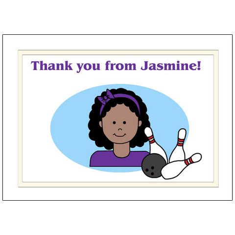 Bowling Kid Personalized Thank You Note Cards - Girl