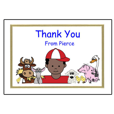 Barnyard or Petting Zoo Thank You Note Cards - Boy