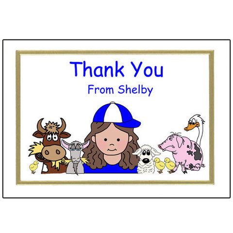 Barnyard or Petting Zoo Thank You Note Cards - Girl
