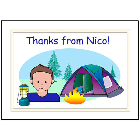 Camping Kid Thank You Note Cards - Boy