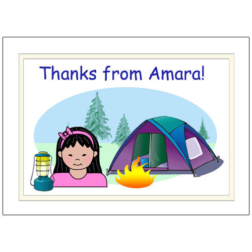Camping Kid Thank You Note Cards - Girl