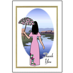 Thank You Note Cards - Chinese Women