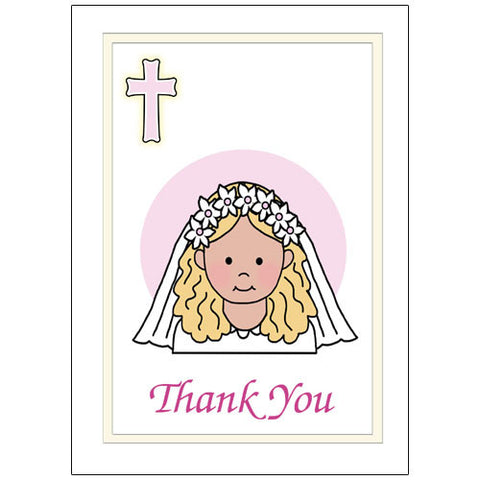First Communion Thank You Note Cards - Girl