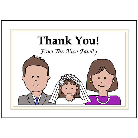 First Communion or Confirmation Thank You Note Cards - Cartoon Family Design