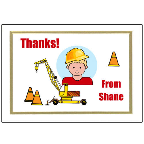 Construction Boy Thank You Note Cards