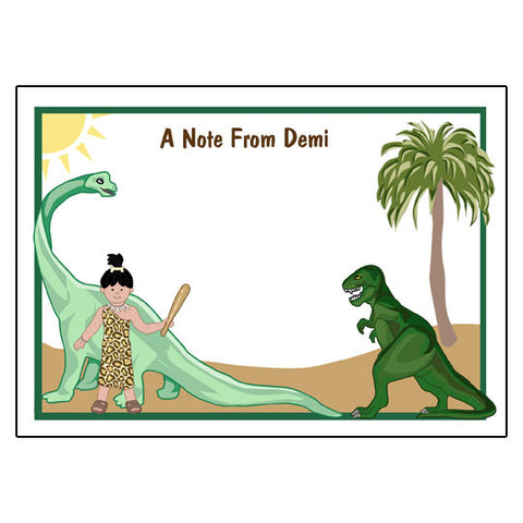 Dinosaur Thank You Note Cards - Girl