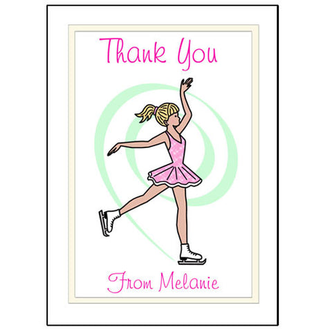 Ice Skating Thank You Note Cards - Dainty Swirl Skater