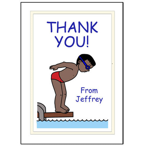 Pool or Swimming Thank You Note Cards - Boy