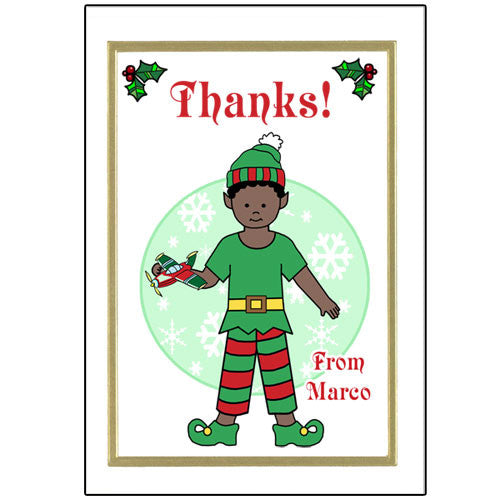 Elf Christmas Thank You Note Cards - Boy