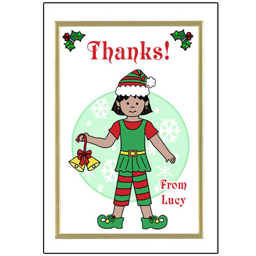 Elf Christmas Thank You Note Cards - Girl