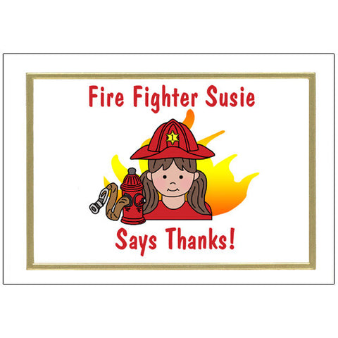Firefighter Thank You Note Cards - Girl