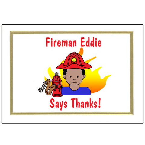 Firefighter Thank You Note Cards - Boy