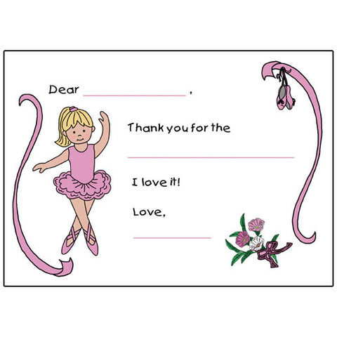 Ballet or Dance Fill in the Blank Thank You Notes - Ballerina Design