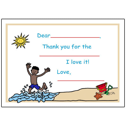 Beach Party Fill in the Blank Thank You Notes - Boy
