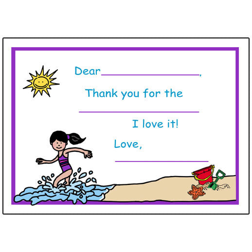 Beach Party Fill in the Blank Thank You Notes - Girl