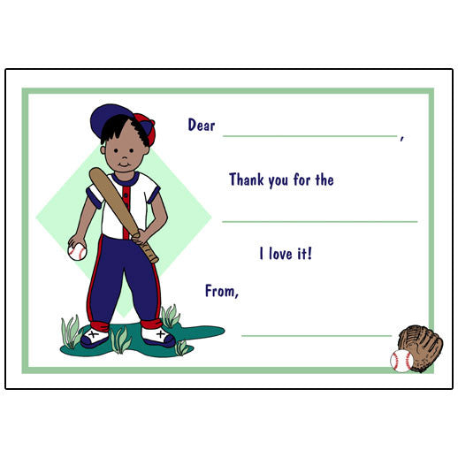 Baseball Boy Fill in the Blank Thank You Notes