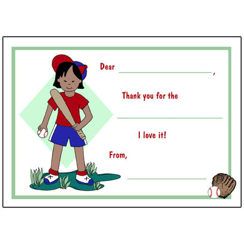 Baseball Girl Fill in the Blank Thank You Notes