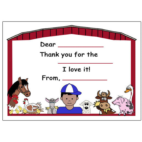 Barnyard or Petting Zoo Fill in the Blank Thank You Notes - Boy