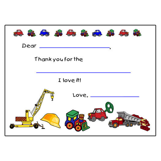 Fill in the Blank Thank You Cards - Car & Truck Design