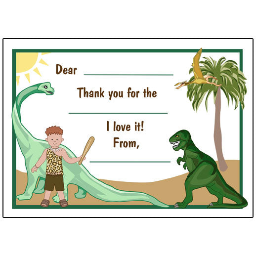 Dinosaur Kids Fill In The Blank Thank You Note Cards For