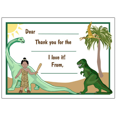 Dinosaur Fill in the Blank Thank You Notes - Girl