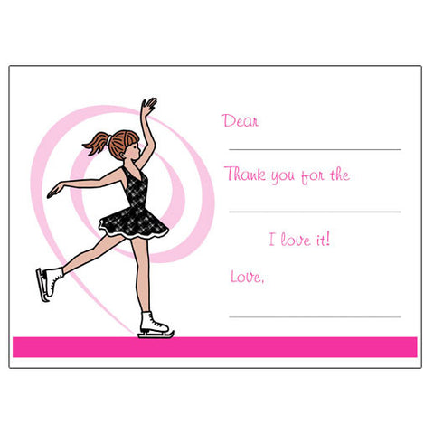 Ice Skating Fill in the Blank Thank You Notes - Dainty Swirl Skater