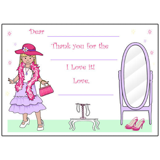 Dress Up Girl Fill in the Blank Thank You Notes
