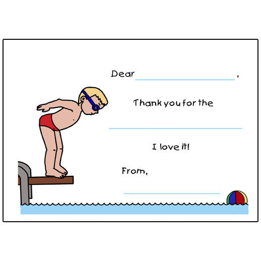 Pool or Swimming Fill in the Blank Thank You Note Cards - Boy