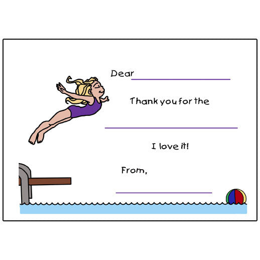 Pool or Swimming  Fill in the Blank Thank You Note Cards - Girl
