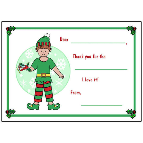 Elf Christmas Fill in the Blank Thank You Notes - Boy