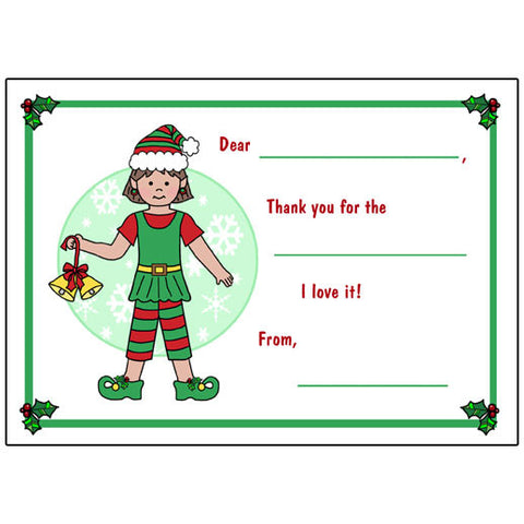 Elf Christmas Fill in the Blank Thank You Notes - Girl