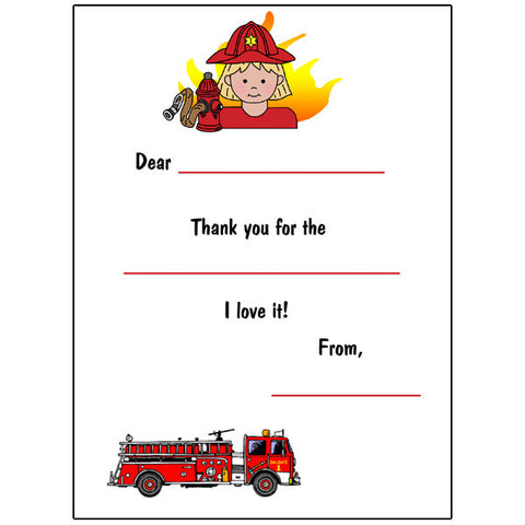 Firefighter Fill in the Blank Thank You Notes - Girl