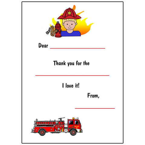 Firefighter Fill in the Blank Thank You Notes - Boy