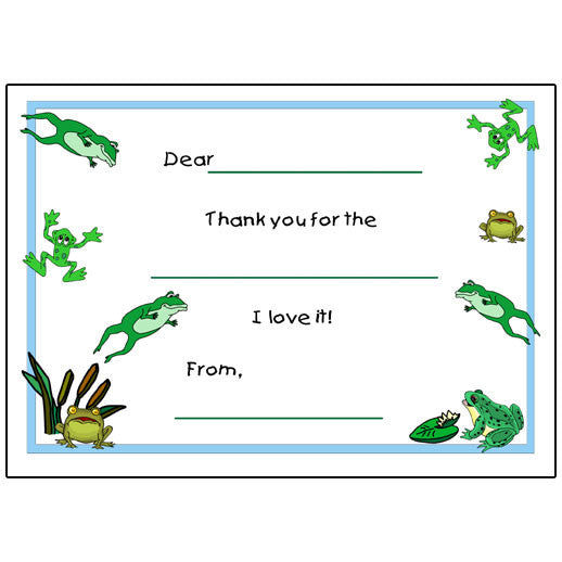 Frog Fill in the Blank Thank You Notes