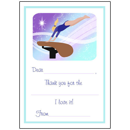 Gymnastics Dreams Fill in the Blank Thank You Notes - Vault