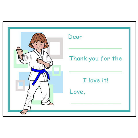 Martial Arts or Karate Kid Fill in the Blank Thank You Notes - Girl