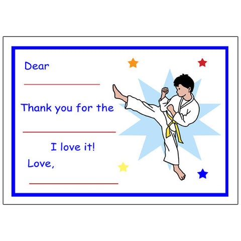 Karate or Martial Arts Boy Fill in the Blank Thank You Notes - Kick Design