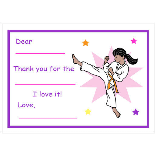 Karate or Martial Arts Girl Fill in the Blank Thank You Notes - Kick Design