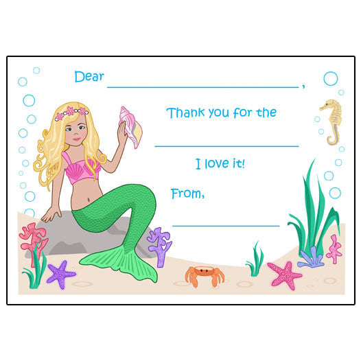 Mermaid Fill in the Blank Thank You Notes