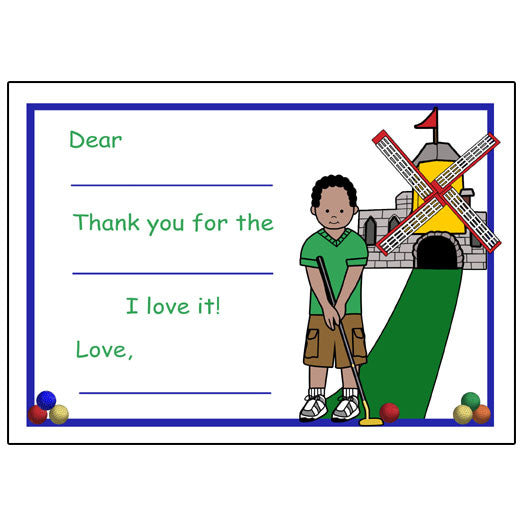 Mini Golf Fill in the Blank Thank You Notes (Design 2) - Boy