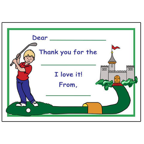 Mini Golf Fill in the Blank Thank You Notes - Boy